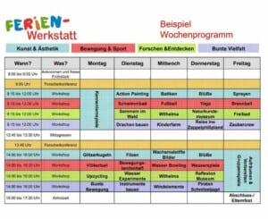 Eine bunte Tabelle für ein Wochenprogramm