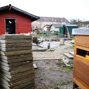 Im Vordergrund stehen zwei Steinplatten und ein Bienenhaus. Im Hintergrund steht ein rotes Haus.